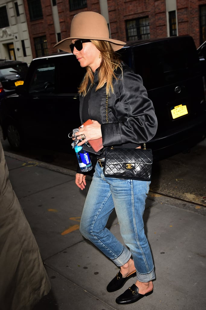 Jen owns the most classic bag of them all: a quilted Chanel purse. She rocked the design with cuffed denim and her Gucci loafers in NYC in September 2016.