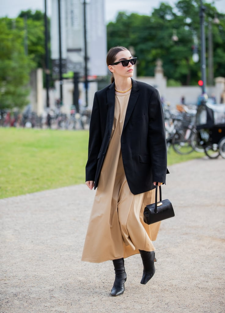 Fall Outfit Idea: Black Blazer + Tan Dress + Leather Boots