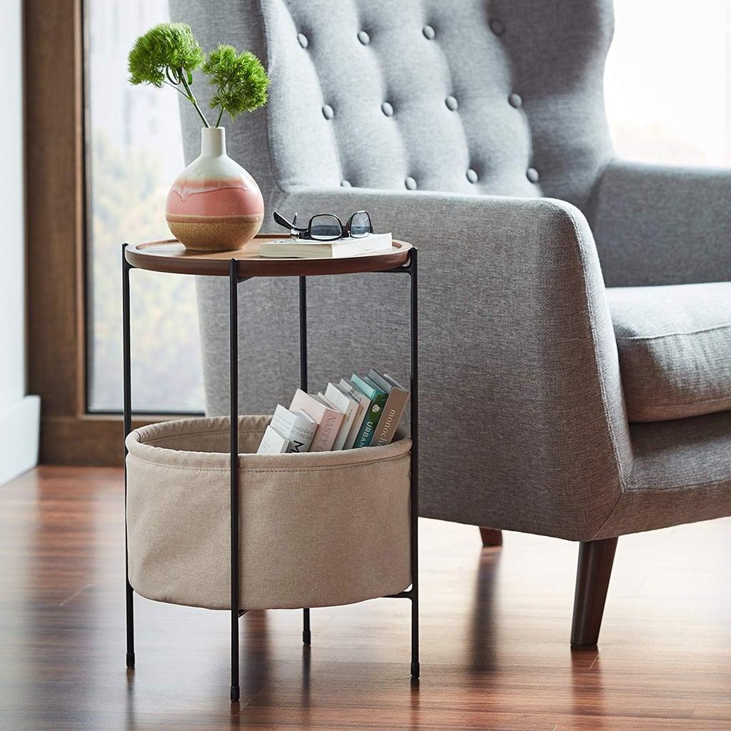 Rivet Round Storage Basket Side Table