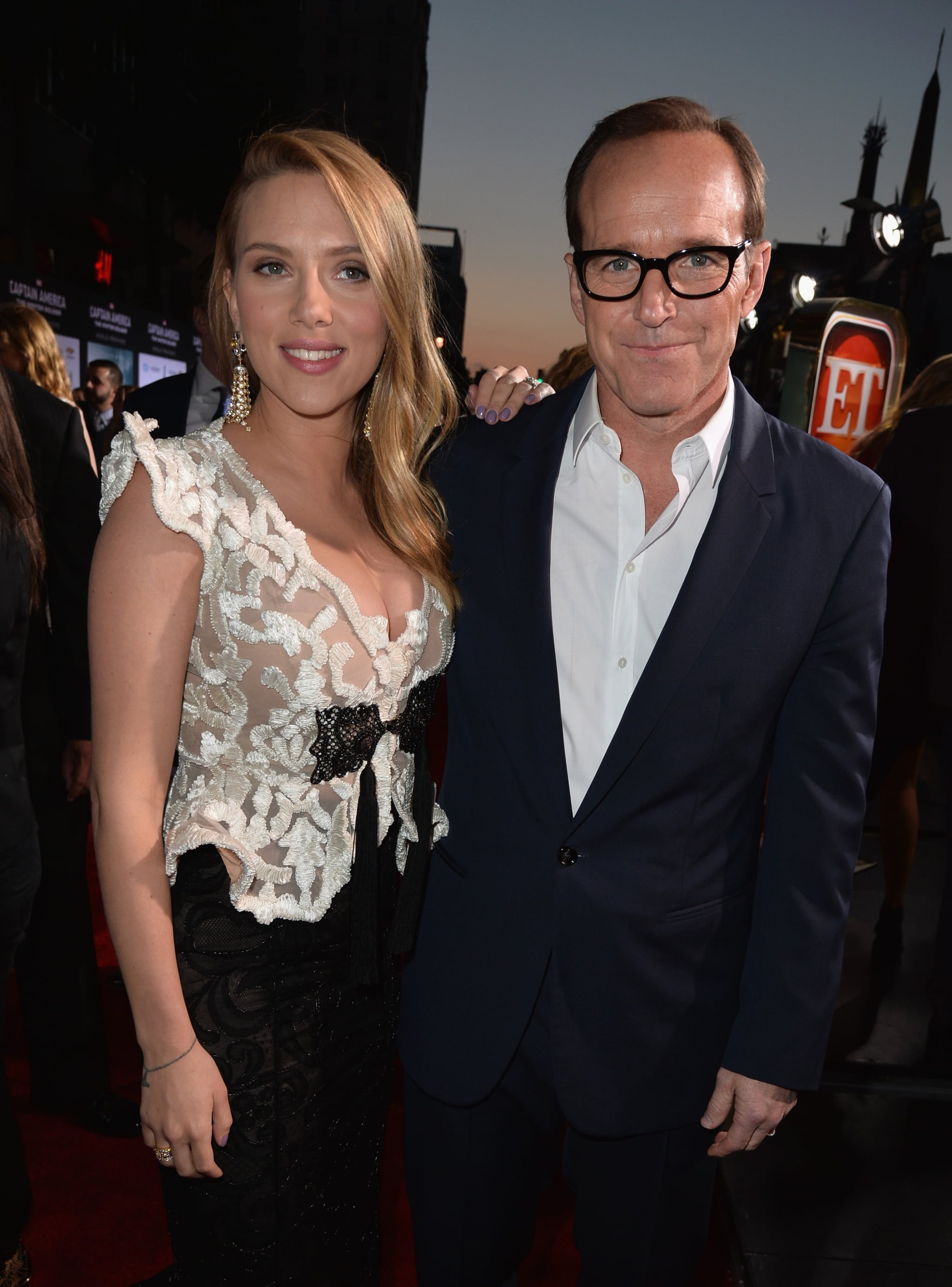 Scarlett greeted Clark Gregg, star of  Marvel's Agents of S.H.I.E.L.D. on ABC.