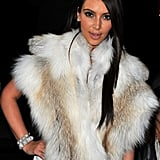 Kim Kardashian wore fur at Kanye West's show.