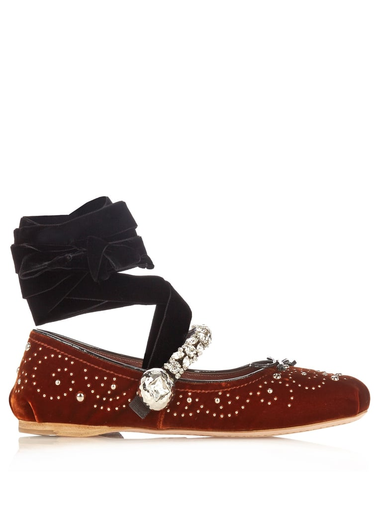 Miu Miu's Velvet Ballet Flats ($990) aren't just statement-making; they're entirely practical, too.