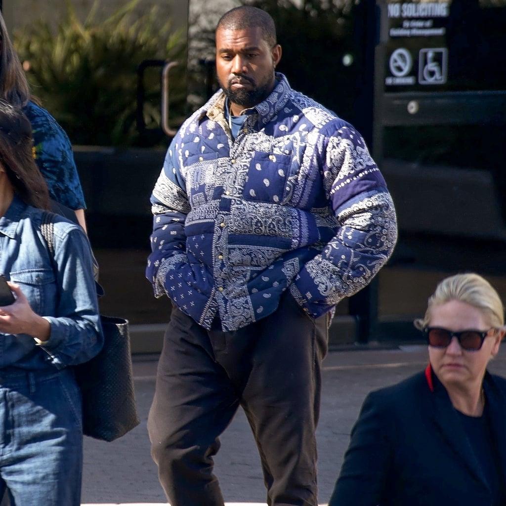Kanye West S Bandana Print Visvim Puffer Coat Popsugar Fashion Uk