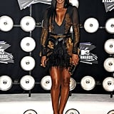 Kelly Rowland showed a lot of leg in a mini-dress.