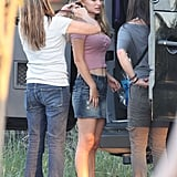 Natalie Portman had her hair and makeup done for filming of her new movie in Texas.
