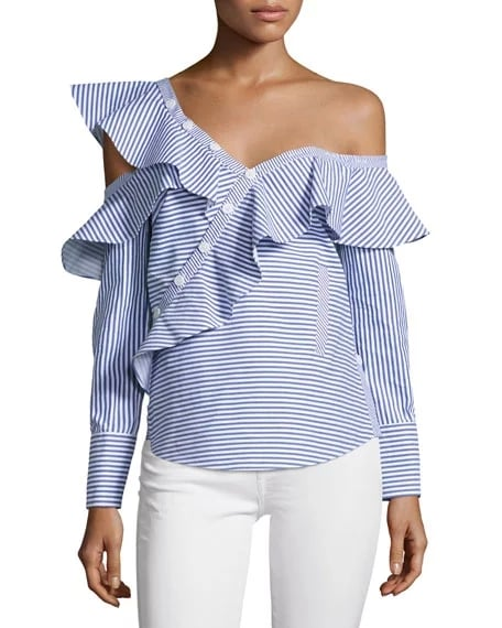 8cc2cfe631e5 Self-Portrait Striped Frill Asymmetric Shirt | Asymmetrical Cold ...