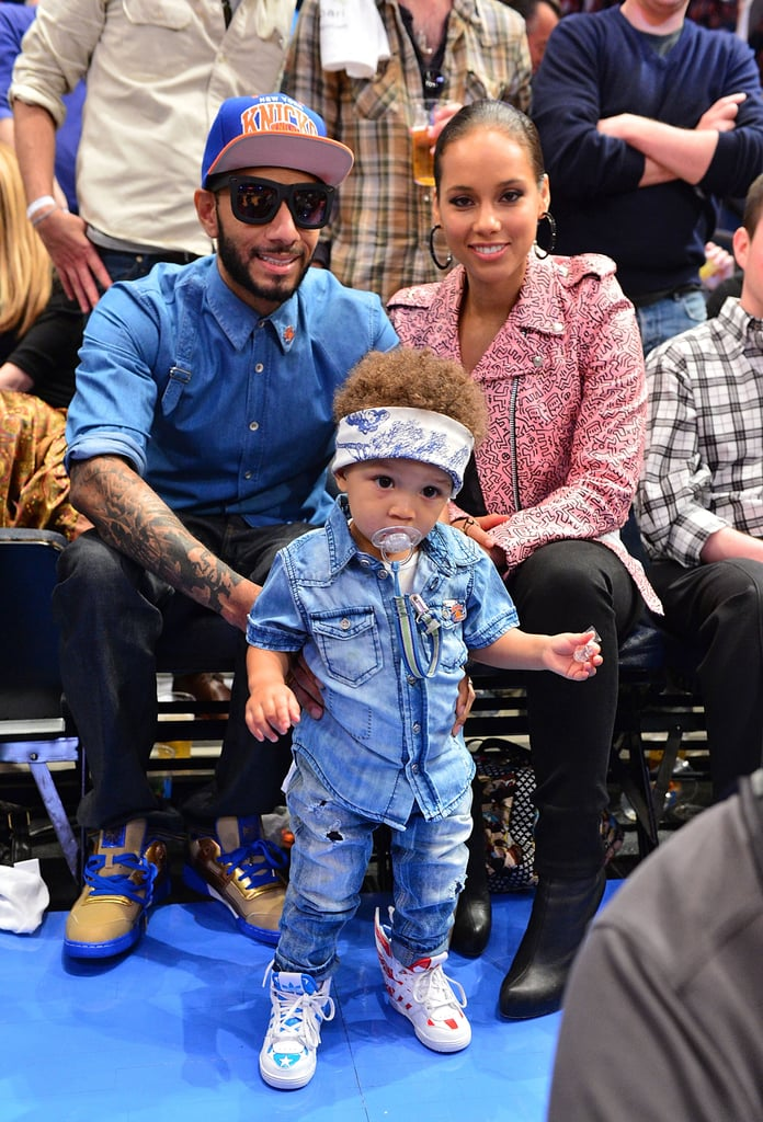 Swizz Beatz and Alicia Keys were with baby Egypt when they watched the NY Knicks take on the Miami Heat in May 2012.