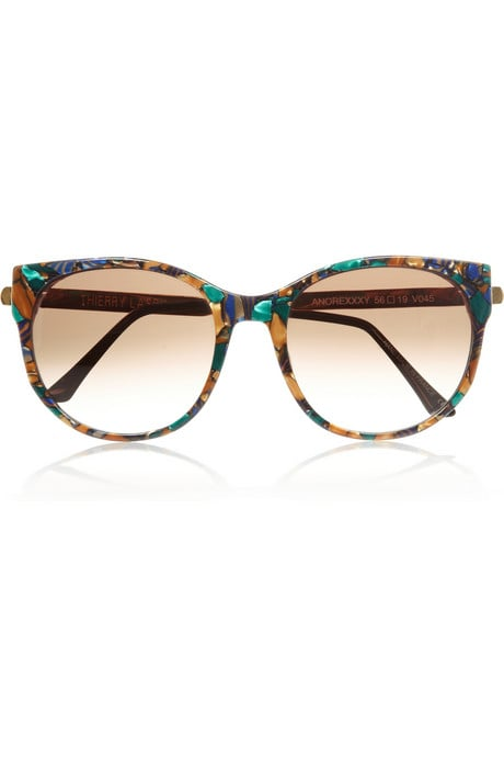 The marbling effect gives these cat-eye sunglasses an exotic attitude.  Thierry Lasry Cat-Eye Marbled Sunglasses ($435)