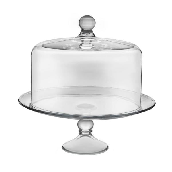 Libbey Selene 2-piece Clear Glass Cake Stand with Dome