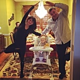 Alec and Hilaria Baldwin showed off yoga poses with their daughter, Carmen.