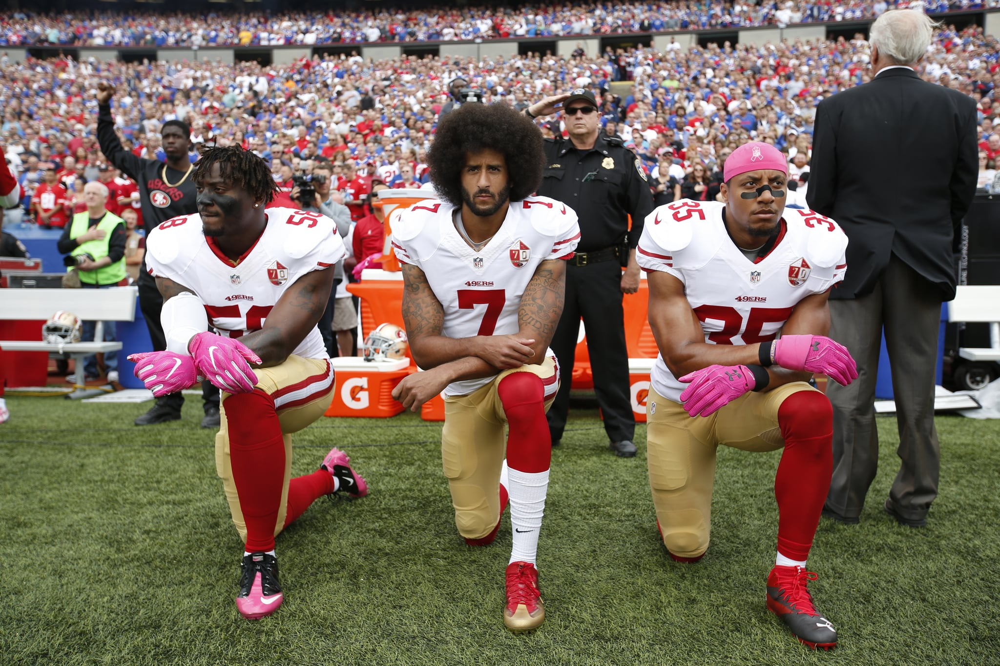 What is colin kaepernicks takeaknee protest about popsugar news president donald trumps ongoing tirade against nfl players and their first amendment rights has had one immediate detrimental result the media is now m4hsunfo