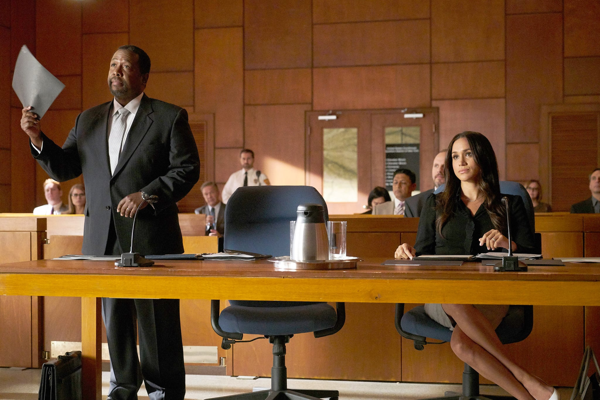 SUITS, from left: Wendell Pierce, Meghan Markle, 'Shame', (Season 7, ep. 709, aired Sept. 6, 2017). photo: Ian Watson/ USA Network/courtesy Everett Collection