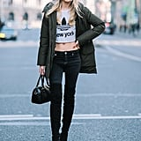 With Skinny Jeans and a Sporty Touch