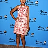 Kerry put her prints on display in a red-and-white paisley dress at the 2013 Television Critics Association's Summer Press Tour in LA.