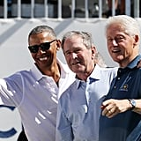 Barack kicked back with George W. Bush and Bill Clinton at the Presidents Cup at Liberty National Golf Club in New Jersey in September.