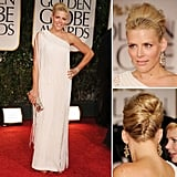 Busy Philipps (aka Michelle Williams's Golden Globes date) channeled a '60s bombshell-meets-flapper-girl vibe on the red carpet. The actress opted for a fringed asymmetrical gown, then got equally playful with her beauty routine, showing off a voluminous bouffant and pale pink pout.