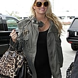 Jessica Simpson with yellow sunglasses at LAX.