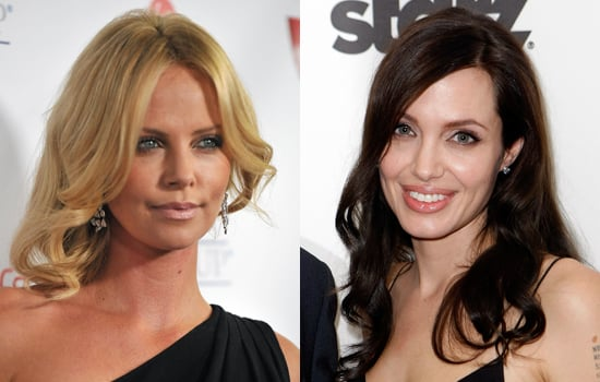 Blondes Make Better Girlfriends, Brunettes Make Better Wives. Photo of Charlize Theron versus Angelina Jolie.