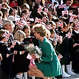 Diana talked with school children during a visit in Seoul, Korea, in November 1992.