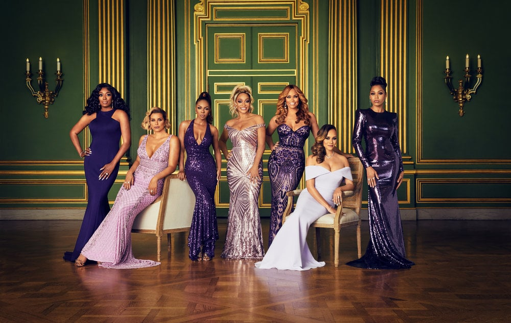 THE REAL HOUSEWIVES OF POTOMAC -- Season:5 -- Pictured: (l-r) Wendy Osefo, Robyn Dixon, Candiace Dillard, Karen Huger, Gizelle Bryant, Ashley Darby, Monique Samuels -- (Photo by: Sophy Holland/Bravo)