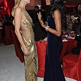 Heidi Klum and Naomi Campbell chatted at Elton John's Oscar party.