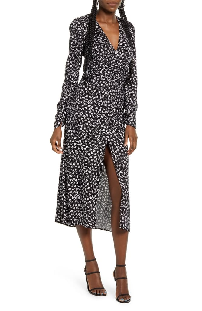 Afrm Madsen Ruched Long-Sleeve Midi Dress