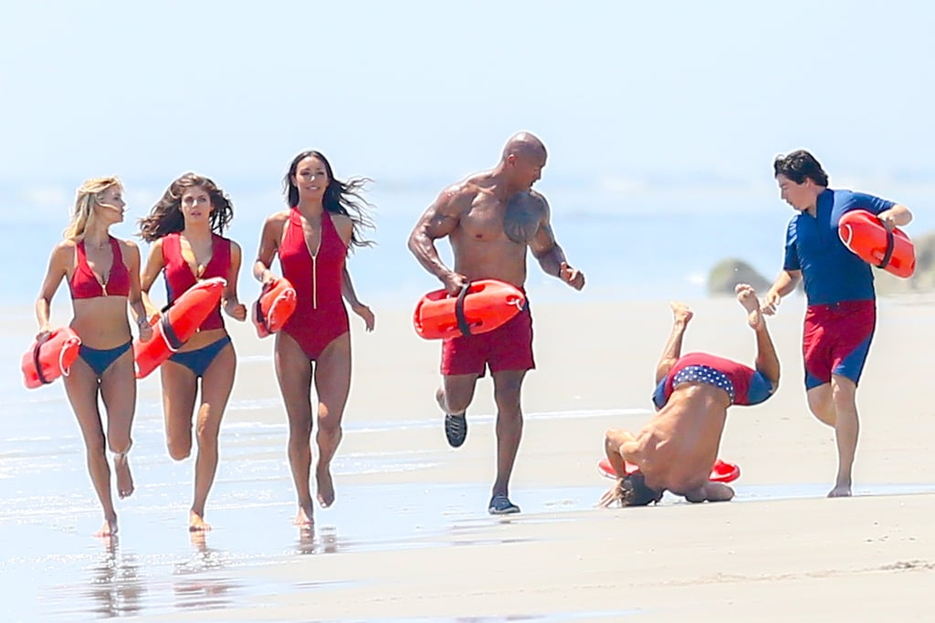 Yikes: Zac Efron Takes a Tumble While Filming an Iconic Baywatch Scene