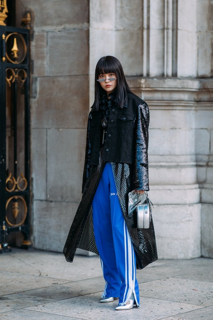 Give track pants a high-fashion upgrade by wearing them with a cool jacket and metallic heels.