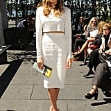 Katie Cassidy chose a crisp monochromatic look for the Houghton show at the High Line on Friday.