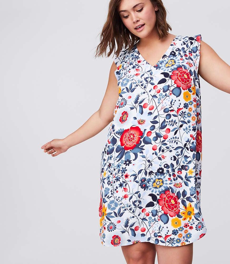 d92a9f46445 LOFT Plus Flowerbed Flutter Swing Dress