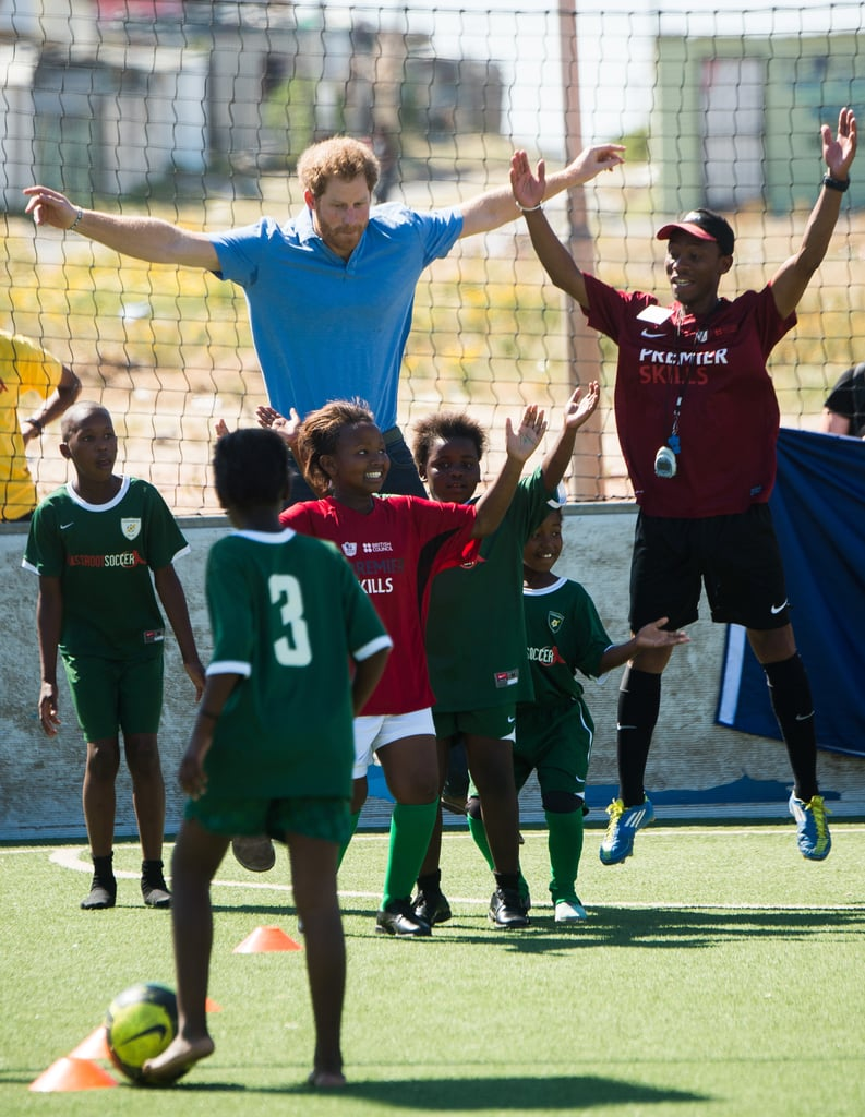 Prince Harry Plays Soccer With Kids in South Africa