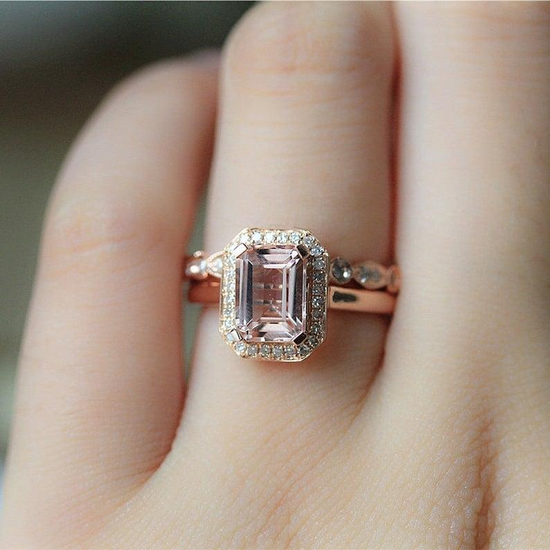 14k Rose Gold Engagement Ring Set
