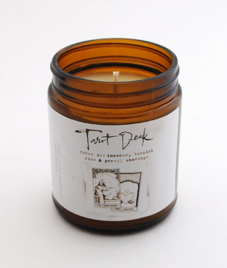 A truly unique gift, this Catbird Tarot Deck Candle ($32) is a romantic and mysterious blend of incense smoke, turkish rose, and pencil shavings.