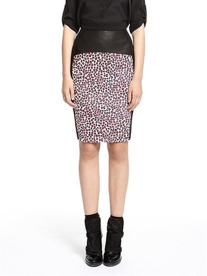 A touch of leather and calf hair makes this DKNY Runway Irina Print Pencil Skirt ($895) the most luxurious kind of pencil.