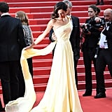Amal has worn Versace on the red carpet when opting for more lavish looks. She wore this pale yellow gown to the Money Monster premiere at the Cannes Film Festival in May 2016.