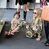 Skyler climbed on mom Rachel Zoe during a shopping trip in West Hollywood.