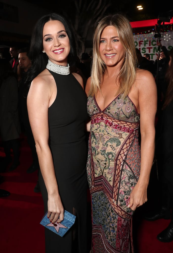 "Jennifer Aniston practically owned the red carpet at the LA premiere of Office Christmas Party on Wednesday night, and in addition to linking up with her costars in the holiday comedy, she also shared a sweet (albeit potentially awkward) moment with Katy Perry. Inside the screening, Jennifer and Katy came face to face and posed together for photos, smiling, laughing, and sharing a hug. As you may know, both women have been in high-profile relationships with John Mayer; Jen dated the ""Your Body Is a Wonderland"" singer in 2008 and is widely speculated to be the subject of songs on his Battle Studies album from the following year, while Katy and John dated on and off from 2012 to 2014 and recorded a romantic duet, ""Who You Love,"" at the end of 2013. John has spoken highly of his 11-month romance with Jen: ""We just have a regard for each other's feelings that is pretty intense,"" he told Playboy in 2010. ""It's been a deep relationship, and it's no longer taking place at all. Have you ever loved somebody, loved her completely, but had to end the relationship for life reasons?"" Katy found love earlier this year with Orlando Bloom, and the two were last spotted together at an NYC gala last month. At any rate, it's likely that she and Jen talked about anything other than John, including the weather, latest sports game, and how pretty each other looked that night."