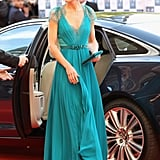 This teal Jenny Packham had an outing at Our Greatest Team Rises event just before the London Olympics.