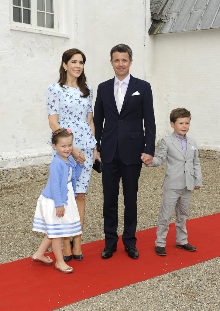Crown Princess Mary and Crown Prince Frederik took their two elder kids, Prince Christian and Princess Isabella, to their cousin's christening in Tonder, Denmark on May 20.