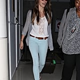 Jessica Biel rocked mint-colored pants at the airport.