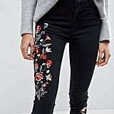These New Look Tall Embroidered Skinny Jeans ($48) are made for the rocker girl with a softer, delicate side.