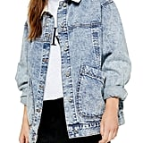 Topshop Cord Collar Patch Denim Jacket