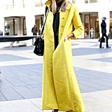 A lemon-hued yellow coat proved the most attention-grabbing kind of outerwear.