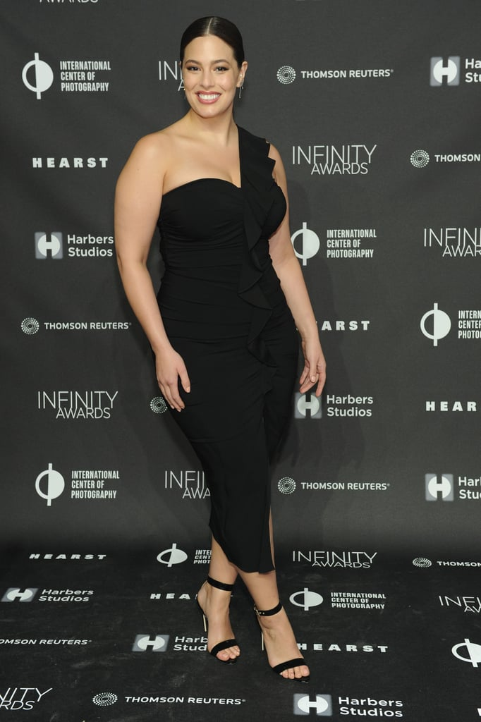 Ashley Graham One-Shoulder Black Dress