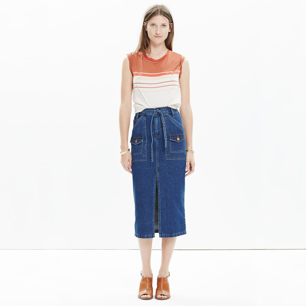 If like me, your denim obsession knows no bounds, you'll be pleased with the way Spring is shaping up. Get a jump on the trend with Madewell's slim pencil skirt ($88), and wear it now with a chunky turtleneck and boots. — HM