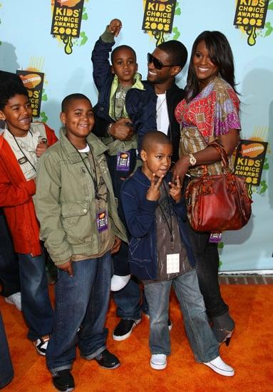Usher and crew rocked the orange carpet at the Nickelodeon Kids' Choice Awards.