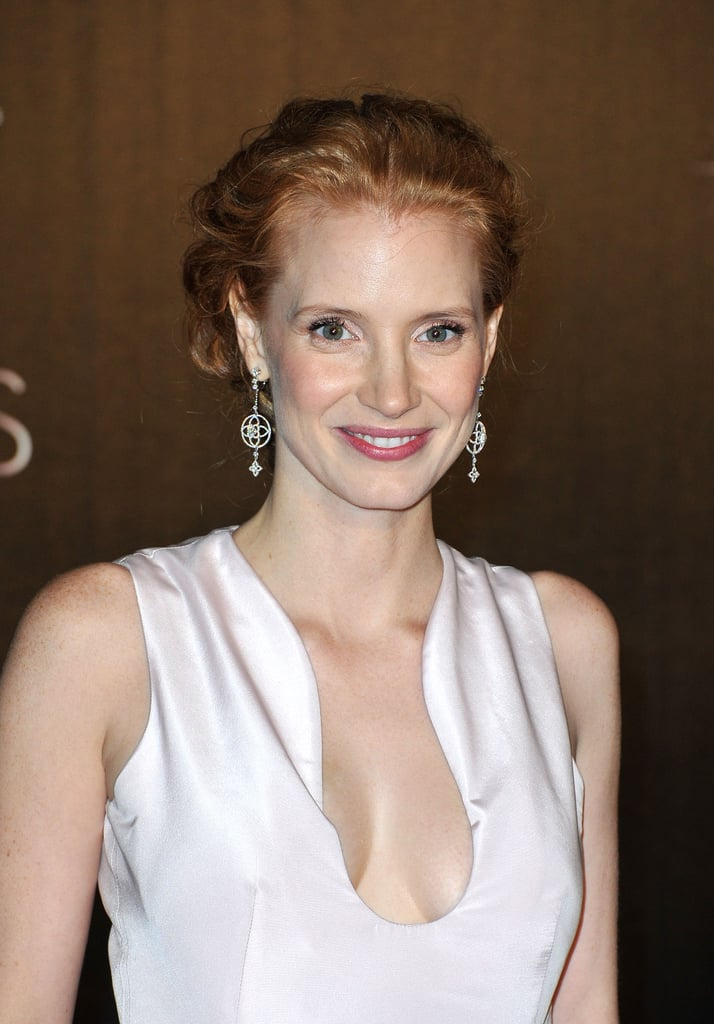 Jessica Chastain looked stunning in a light pink dress with a plunging neckline at the opening dinner of the Cannes Film Festival.