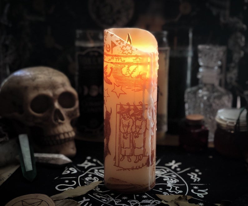 9-Inch Black Flame Pillar Candle