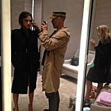 Victoria Beckham got ready for a Brown Thomas appearance. Source: Twitter user victoriabeckham