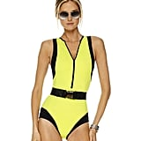 Looking to channel a Bond Girl on the beach? This little number has all the sexy details you need.  Michael Kors Colorblock Scuba Swimsuit ($327)